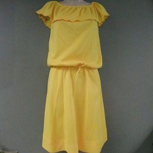 Vintage 1970s Yellow 2 pc Skirt Set
